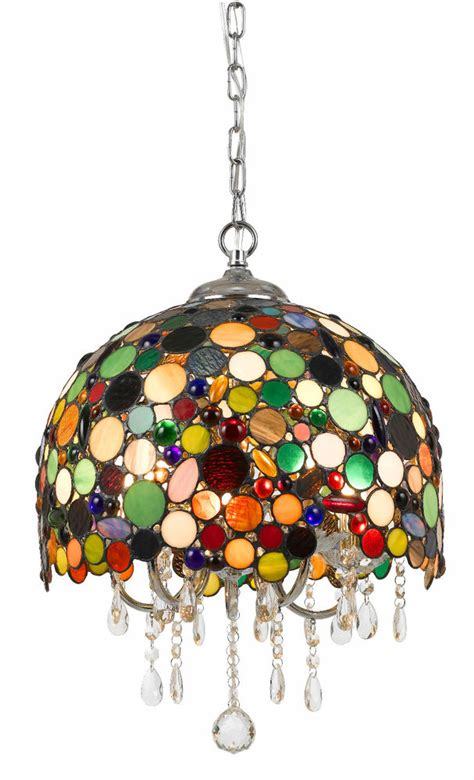 stained glass crystals pendant light fixture