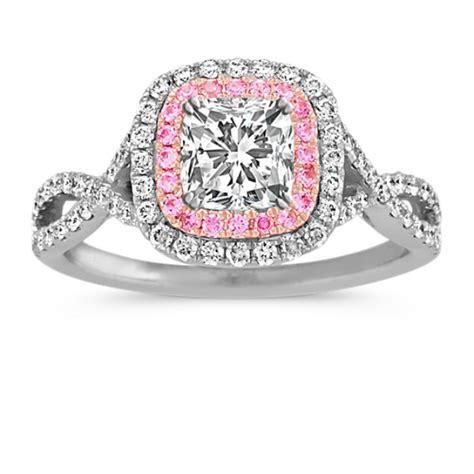cushion cut halo  diamond  pink sapphire infinity