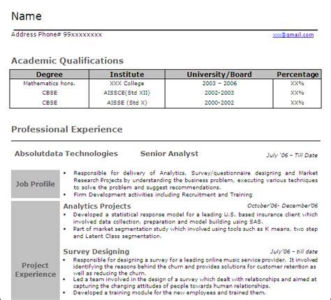 analytics professionals free resume templates
