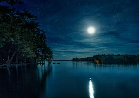 Night Lake Moon Sky Star Nature Forest Hd Wallpaper