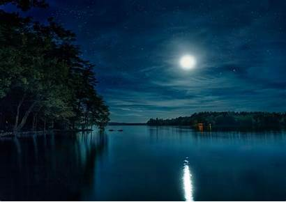 Night Moon Lake Forest Sky Nature Wallpapers