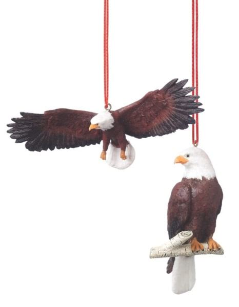 bald eagle christmas ornament set of 2