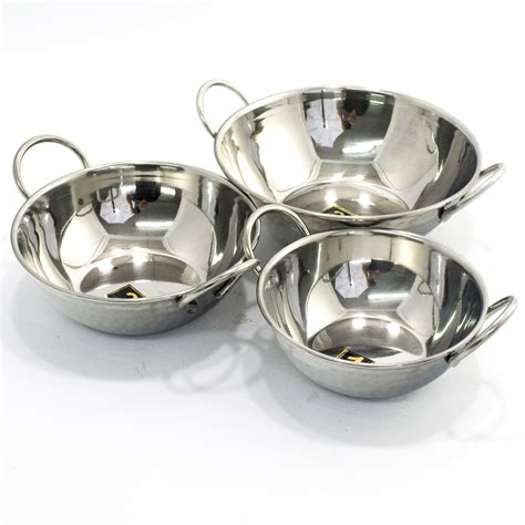 indian hammered stainless steel kadai ancient cookware