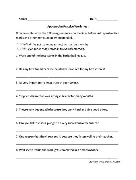 punctuation worksheets apostrophe worksheets