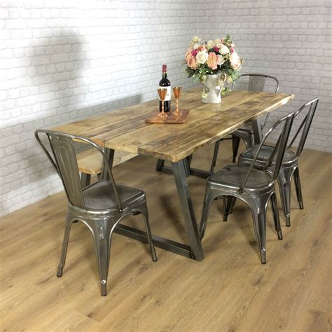 reclaimed wood kitchen table and chairs industrial rustic calia style dining table vintage