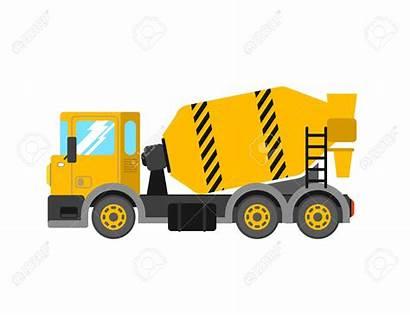 Mixer Cement Concrete Clipart Truck Construction Vector