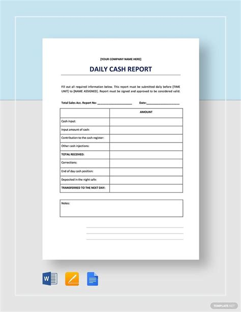 daily cash report template   sales report template
