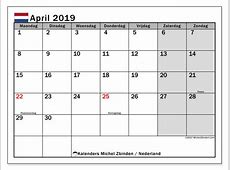 Kalender april 2019, Nederland Michel Zbinden NL