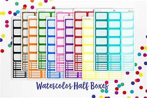 Planner stickers watercolor half boxes for Half page sticker labels