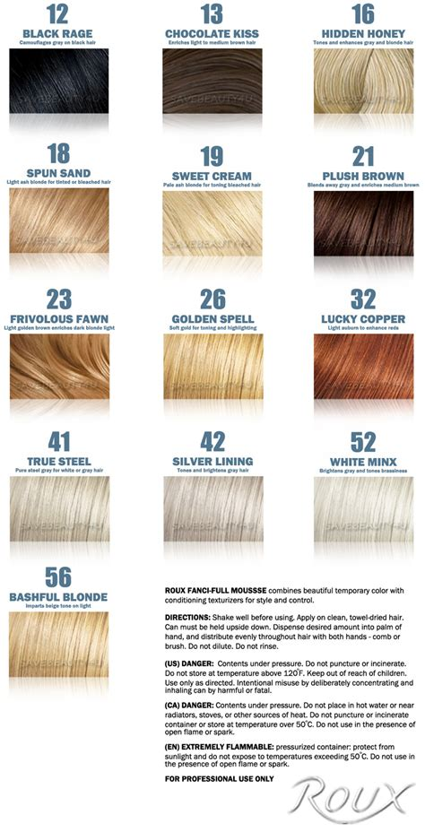 Roux Fanci Full Hair Rinse Color Chart Roux Fanci Full