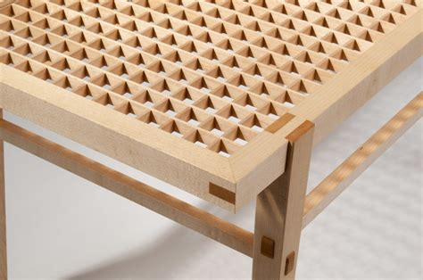 jigumi coffee table featuring decorative geometric patterns