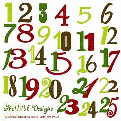 Numbers Christmas Number Clipart Word Advent Mistletoe