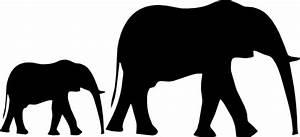 Mom & Baby Elephant Silhouette Clip Art at Clker.com ...