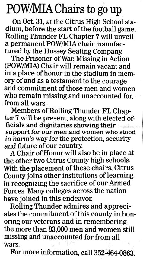 Rolling Thunder Florida Chapter 7 Pow/mia Awareness Page