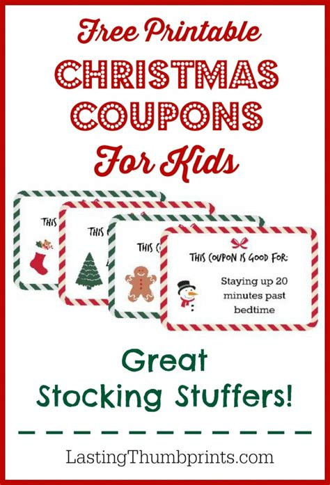 christmas coupon printable  kids  homeschool