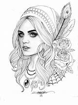 Gypsy Coloring Tattoo Template Adult sketch template