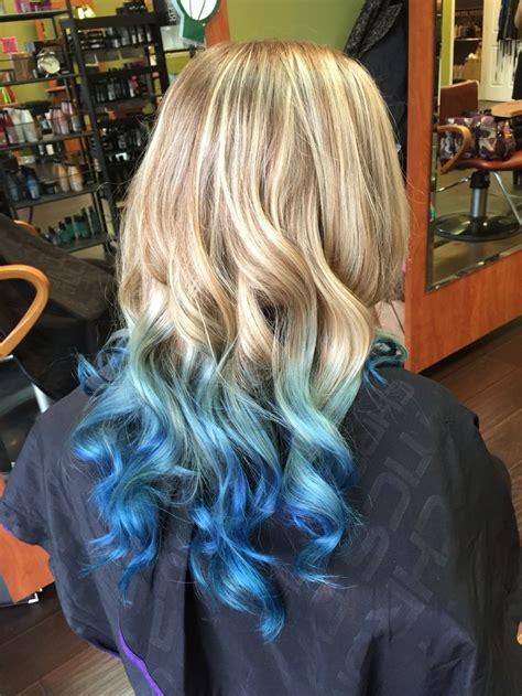 beautiful long blond  blue ombre hair  pravana