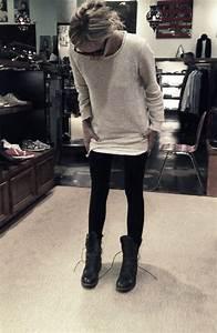 Leggings oversized sweater boots   dream closet   Pinterest