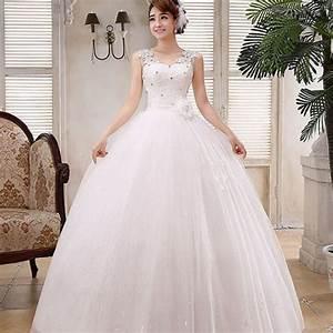 Sweet white v neck solid lace floor length wedding dress for Womens wedding dresses