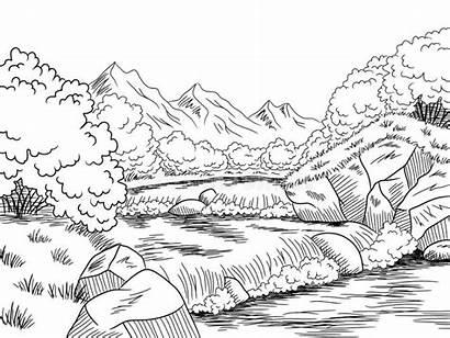 River Mountain Landscape Sketch Graphic Paysage Grafische