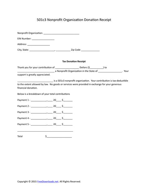 download 501c3 donation receipt letter for tax purposes pdf rtf word freedownloads net