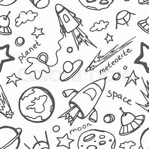 Hand Drawn Cosmos Doodle Seamless Pattern  Excellent