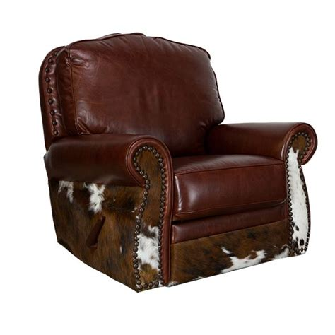 Cowhide Recliner by Leather Cowhide Glider Swivel Recliner Furniture Fancy