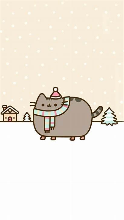 Pusheen Winter Cat Wallpapers Kawaii Christmas Iphone