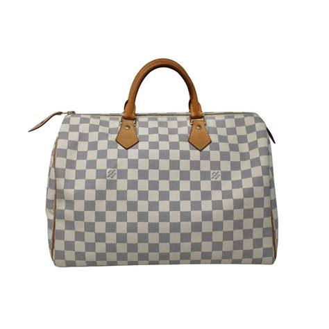 louis vuitton speedy  damier azur canvas handbag  dust bag  stdibs