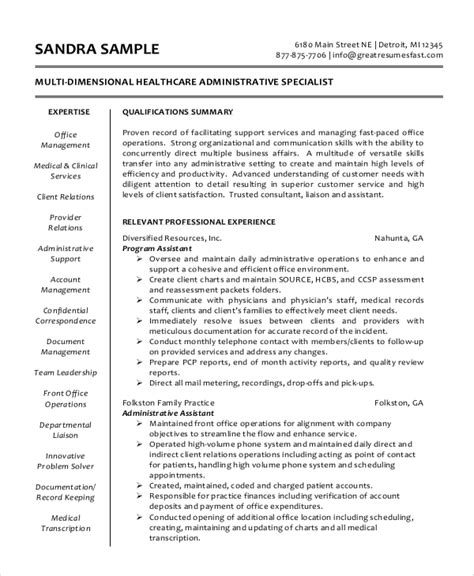 Administrative Staff Assistant Resume by Sle Administrative Assistant Resume 8 Exles In Word Pdf