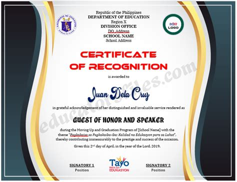 certificate  recognition  guest  honor speaker