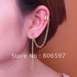 funky earings whhec107 new arrival gold plated ear cuff chain ear cuff