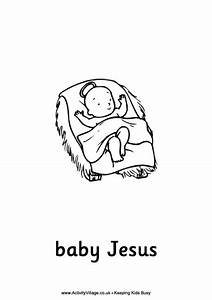 Nativity Colouring Page Baby Jesus