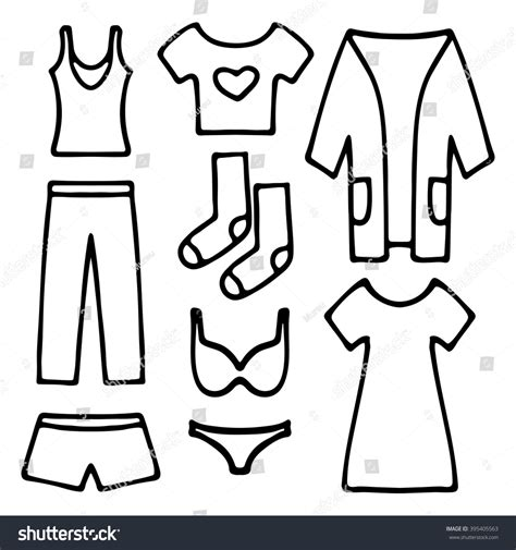 Home Clothes Underwear Set Simple Line Stock Vector