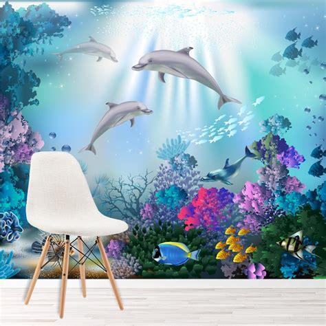 dolphin wall mural   sea photo wallpaper girls
