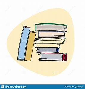 Hand Drawn Pile Of Books In Realistic Style  Stack Of