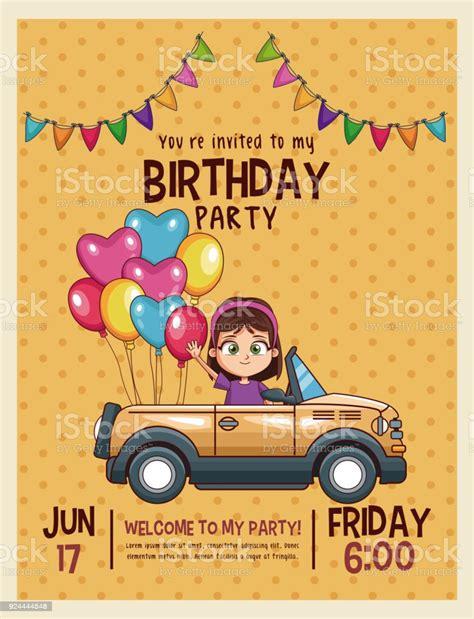 Kids Birthday Invitation Card Stock Illustration