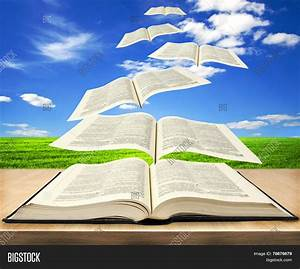 Open Book Bible Pages Flying Into Image & Photo | Bigstock