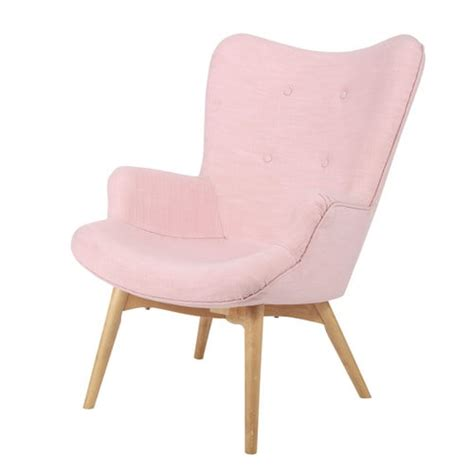 fauteuil vintage en tissu rose iceberg maisons du monde