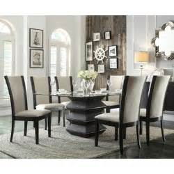 glass dining room sets homelegance havre 7 glass top dining room set w beige chairs beyond stores