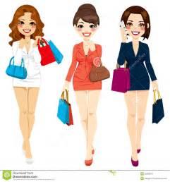 Cartoon Ladies Shopping Clip Art