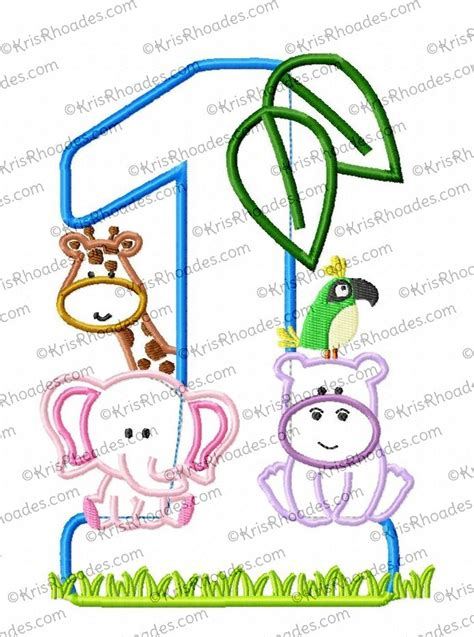 zoo jungle safari st birthday number applique embroidery