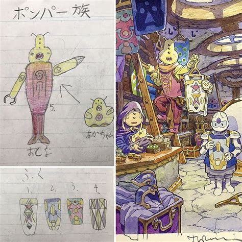 dad turns  sons drawings  anime characters