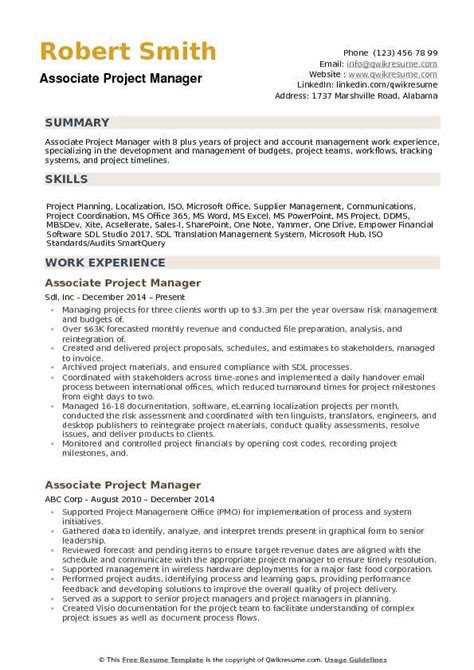 Project Manager Resume Pdf by Associate Project Manager Resume Sles Qwikresume