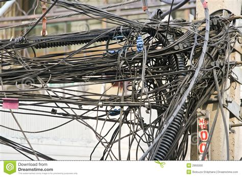 cable mess stock photo image