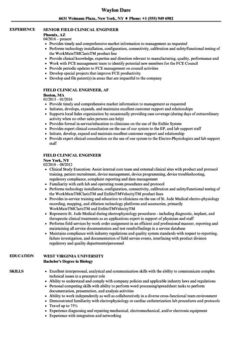 Clinical Resume Exles by Field Clinical Engineer Resume Sles Velvet