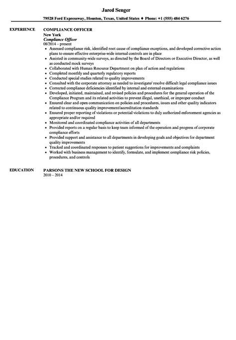 Officer Resume by Compliance Officer Resume Sle Velvet
