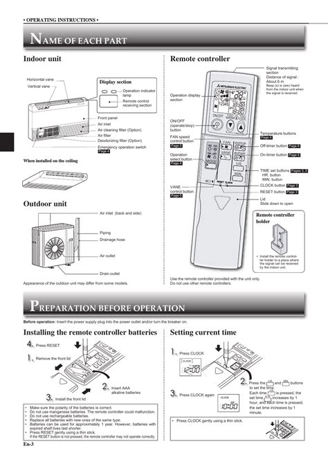 Mitsubishi Remote Manual by Ame Of Each Part Reparation Before Operation 1 Outdoor