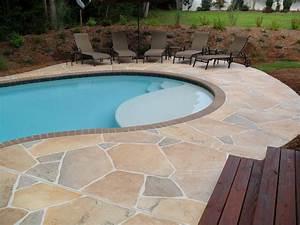 Concrete pool deck ideas concrete flagstone simulation for Concrete pool patio ideas