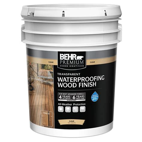 behr premium  gal clear transparent waterproofing wood